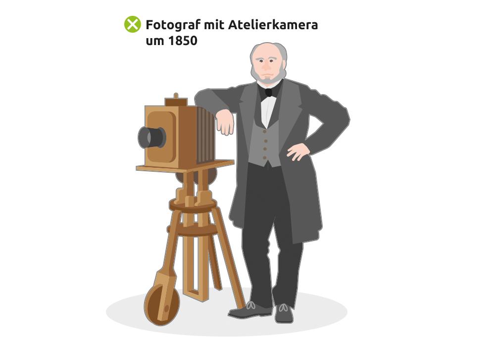 Fotograf mit Atelierkamera um 1850